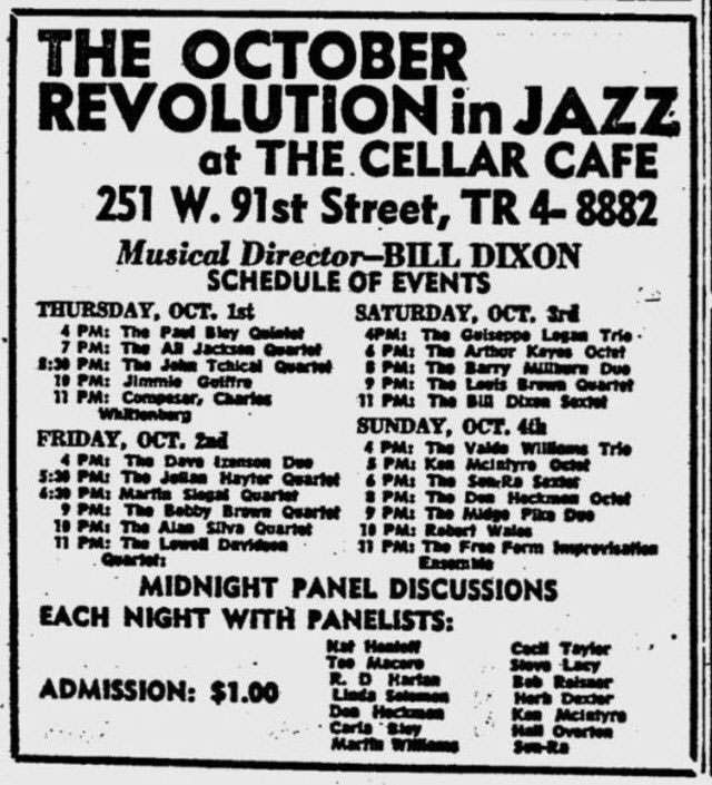 The October Revolution in Jazz at The Cellar Cafe, 1964